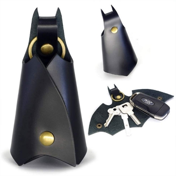 Bat keychain leather sheath