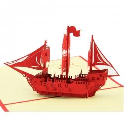乘風破浪帆船立體賀卡