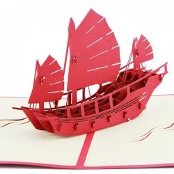 折疊紙雕帆船賀卡