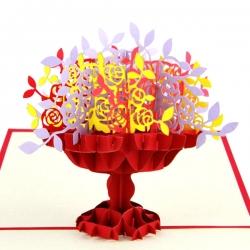 3D大花籃紙雕賀卡
