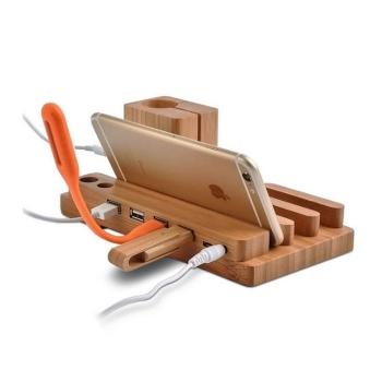 立體式實木多功能手機座