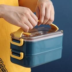 拼色不銹鋼帶提手雙層餐盒