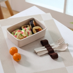 Bamboo Fiber Square Lunch Box with Tableware