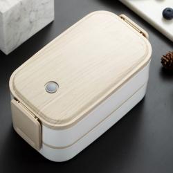 木紋雙層保溫不銹鋼餐盒
