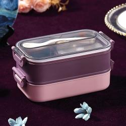 不銹鋼雙層提手餐盒