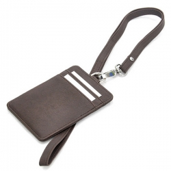 PU card holder with lanyard