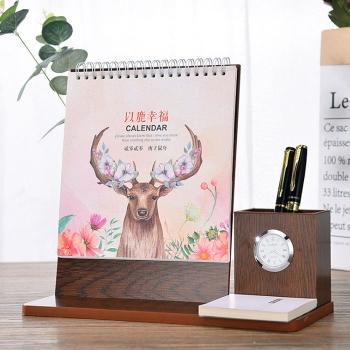 Creative wooden calendar with clock