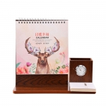 Creative wooden calendar with clock