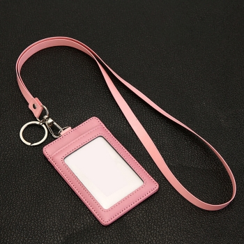 PU card holder with lanyard