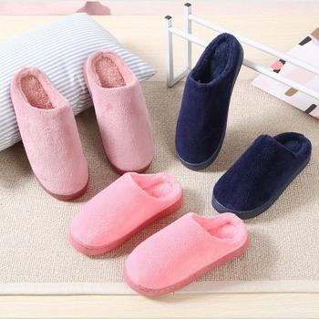 純色情侶珊瑚絨棉拖鞋