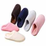 Solid color couple coral fleece cotton slippers