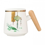 Dragon Boat Festival Wooden Handle Ceramic Cup