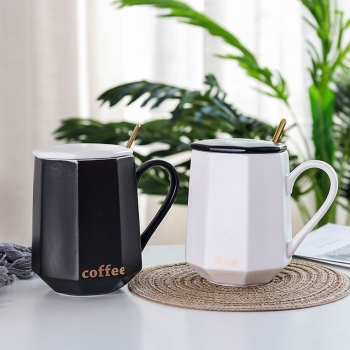 Simple style irregular shape ceramic coffee cup with spoon