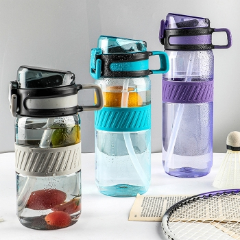 Plastic sport water bottle with straw